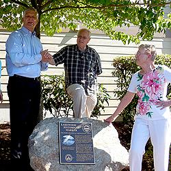 Lakewood mayor Don Anderson (left) at marker dedication.