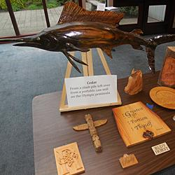 A few of the beautiful works made from locally-available woods in a display accompanying Kris's presentation.