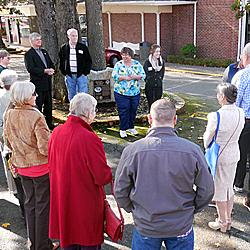 LHS President Becky Huber addressing crowd gathered for Colonial Center Marker dedication by Mayor Don Anderson (left)