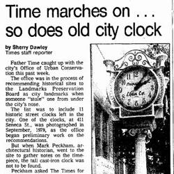 Sept. 1980 Seattle Times article on whereabouts of missing clock.