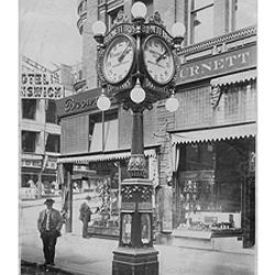 Burnett Brothers clock on 1st and Columbia, Seattle. Don Bugh Collection.