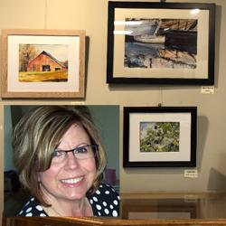 Kathy and a few of her works. See many more at the reception.