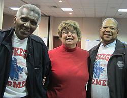 LHS President Becky Huber with Tuskegee Airmen Chapter President Tommie Huber (l.) and Billy Hebert.