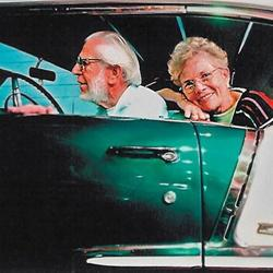 Harold and Nancy LeMay in a 1956 Chevrolet Bel Air (courtesy LeMay Family Collection Foundation)