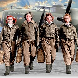 (L to R) Frances Green, Margaret (Peg) Kirchner, Ann Waldner and Blanche Osborn leave their B-17, the Pistol Packin' Mama.
