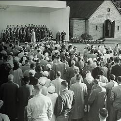 Among the items in the scrapbooks: A photo of an Easter service held outside the Garden Chapel, sometime in the 1950s.