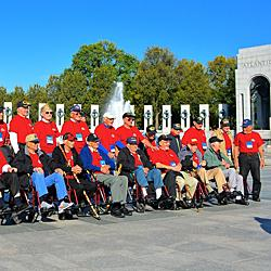 Veterans visiting the World War II Memorial, October 11, 2014