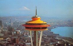 The Space Needle towers over Seattle in 1962...